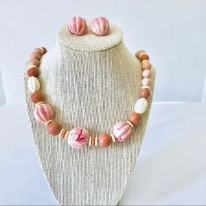 Jewelry - Vtg Avon 70s Pink Chunky Necklace & Earrings Set